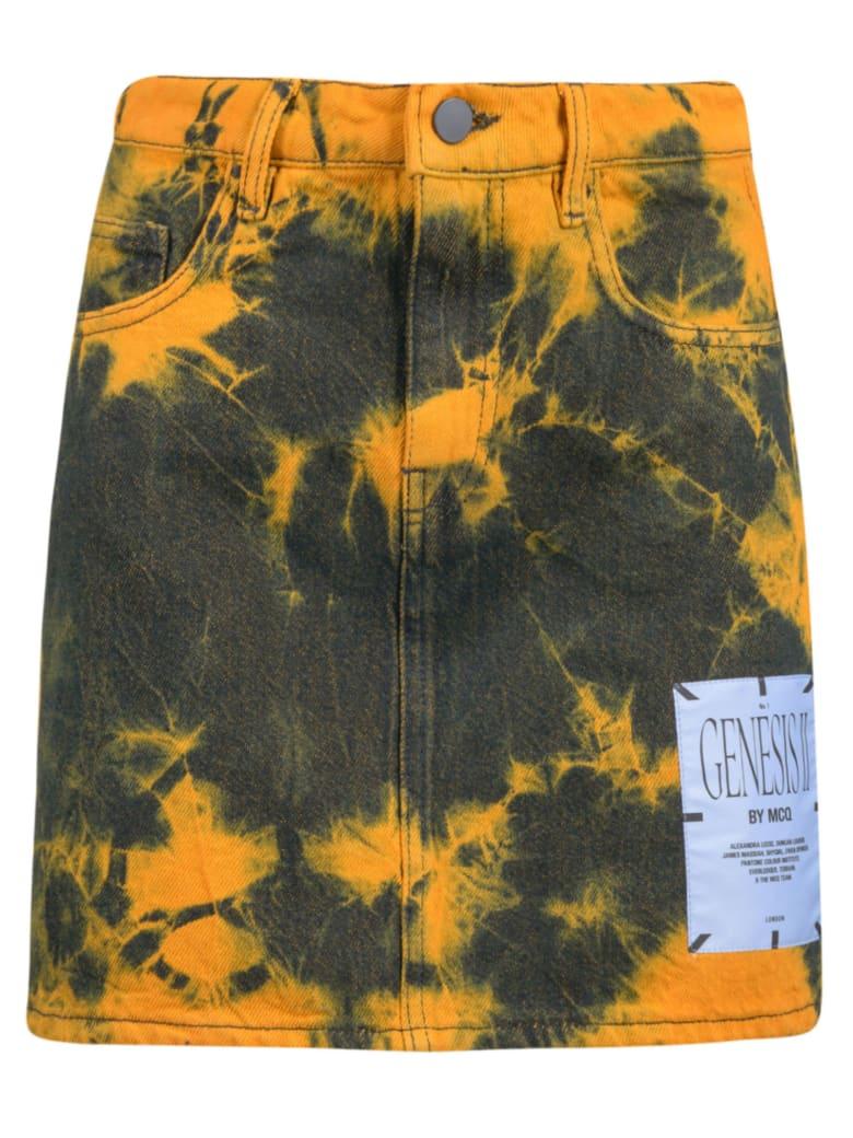 McQ Alexander McQueen Denim Skirt - Black/Orange