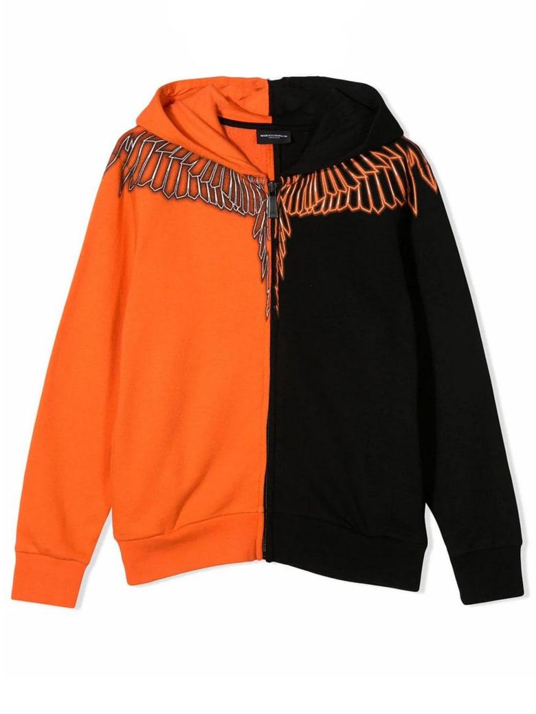 Marcelo Burlon Black And Orange Cotton Sweatshirt - Arancio+nero