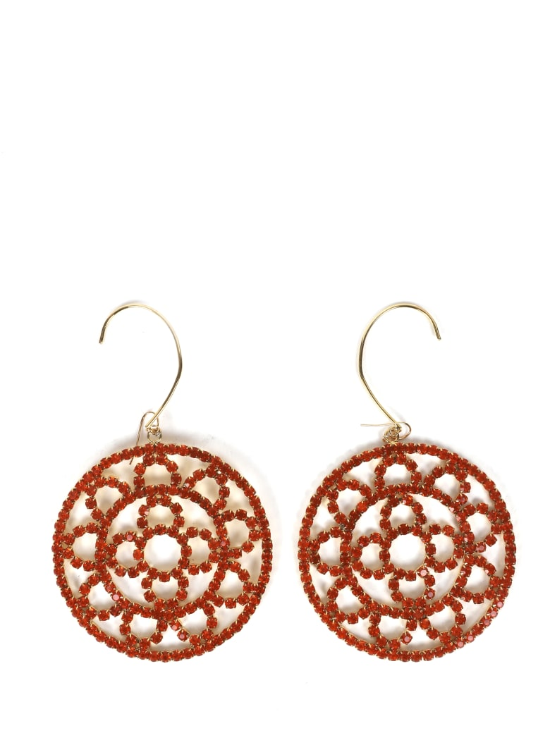 AREA Orange Crystal Crochet Earrings - Orange