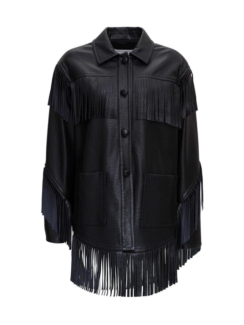 Philosophy di Lorenzo Serafini Leatheret Jacket With Fringes - Black