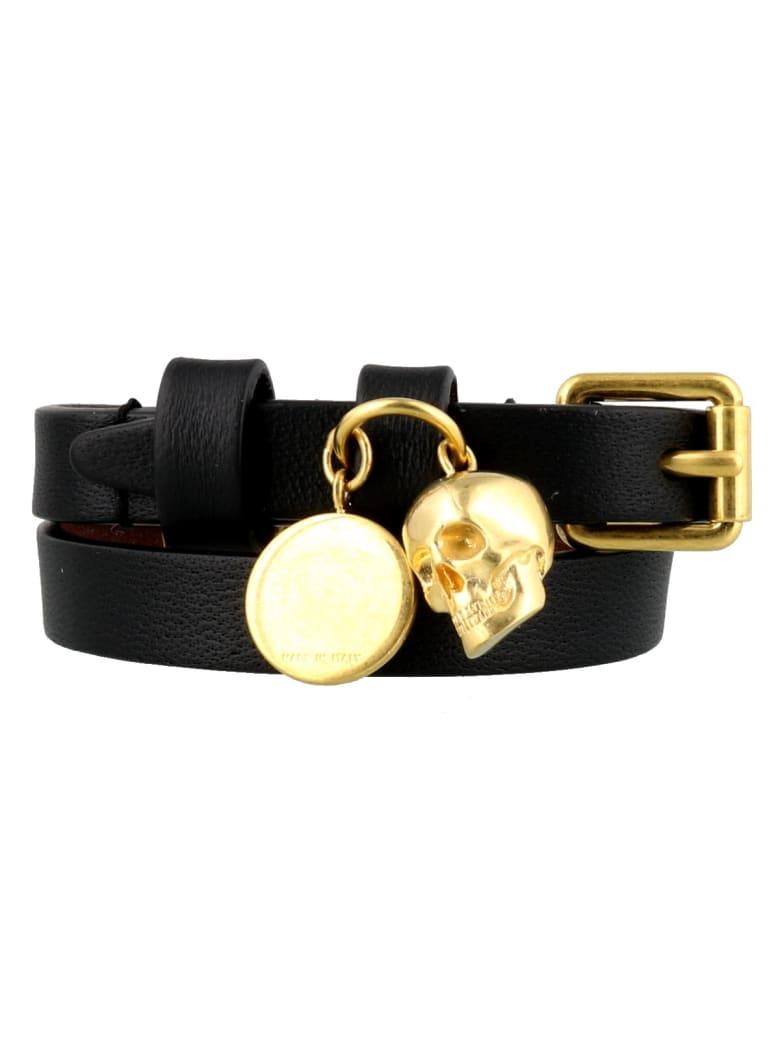 Alexander McQueen Skull Double Wrap Bracelet - Black