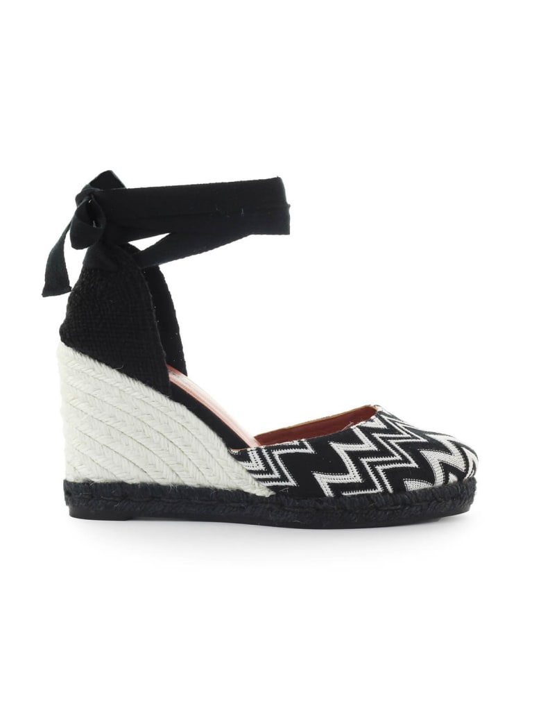 Castañer By Missoni Carina Black And White Wedge Espadrilles - White/Black (White)