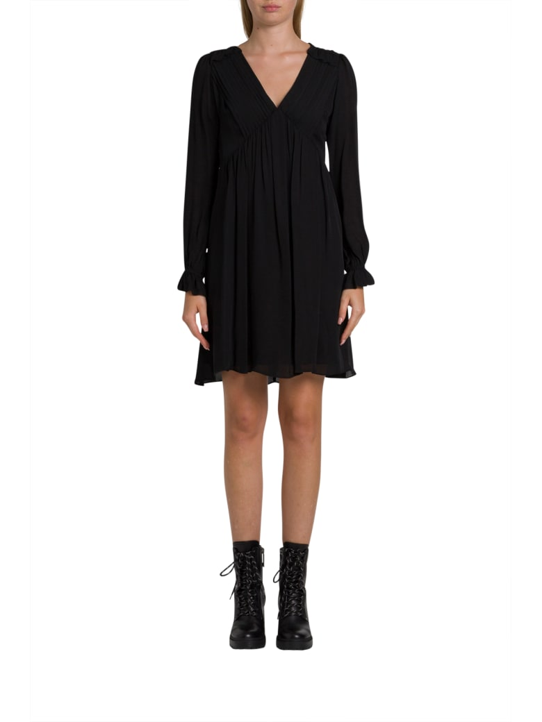MICHAEL Michael Kors Short Silk Dress With Pleated Design And Puffed Sleeve - Nero