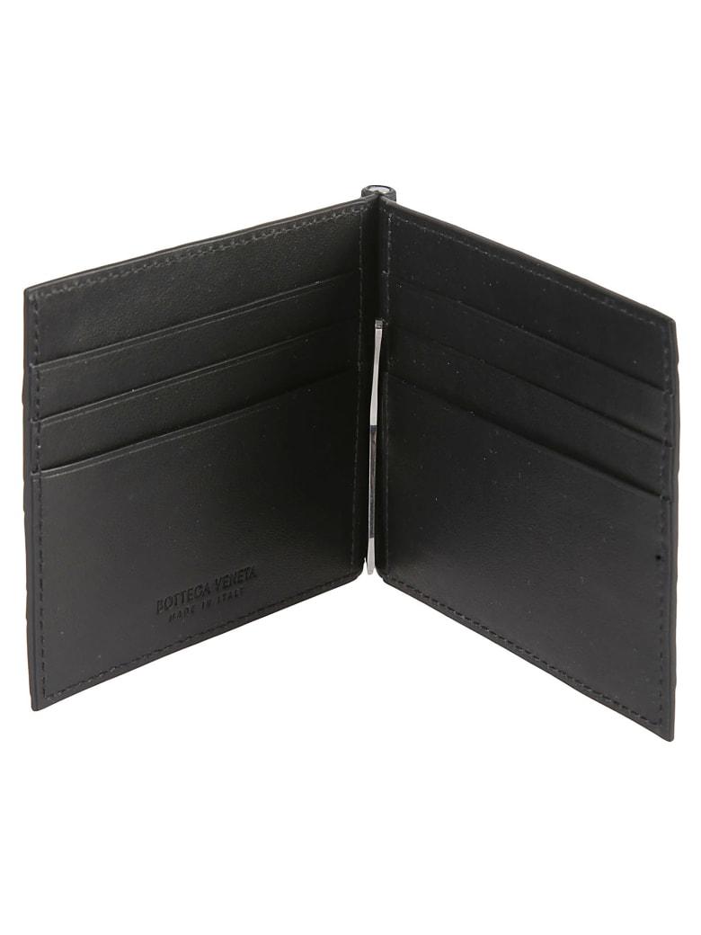 Bottega Veneta Woven Fold Wallet - Black/Silver
