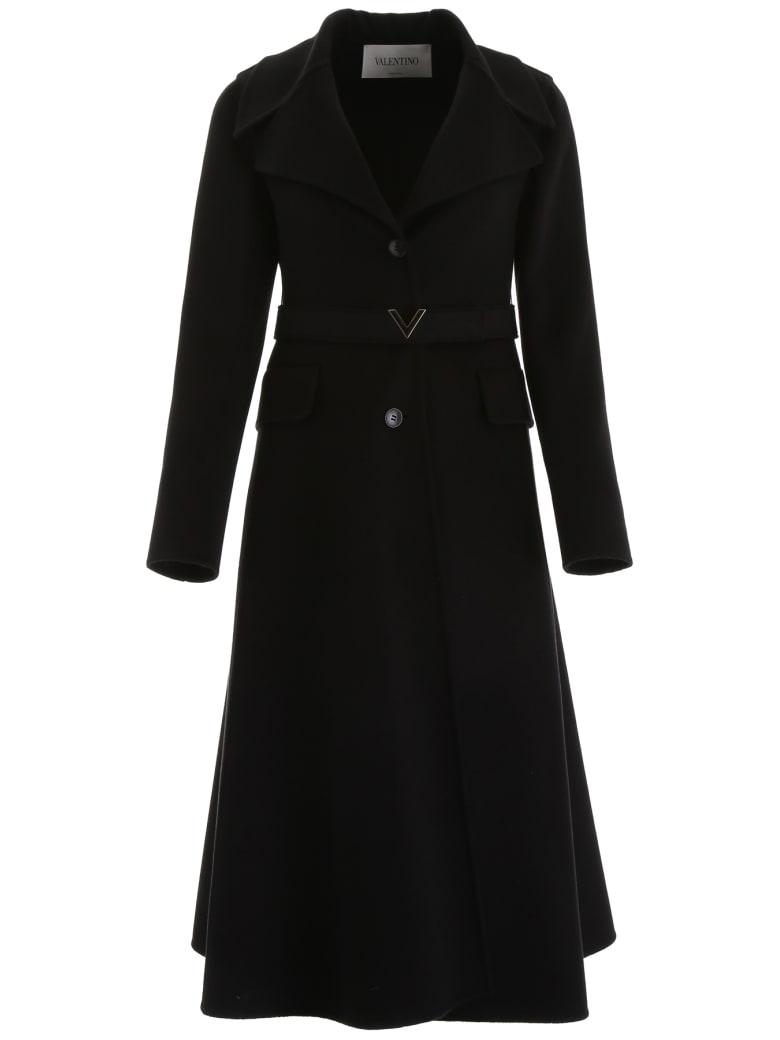 Valentino Coat With V Gold Belt - NERO (Black)