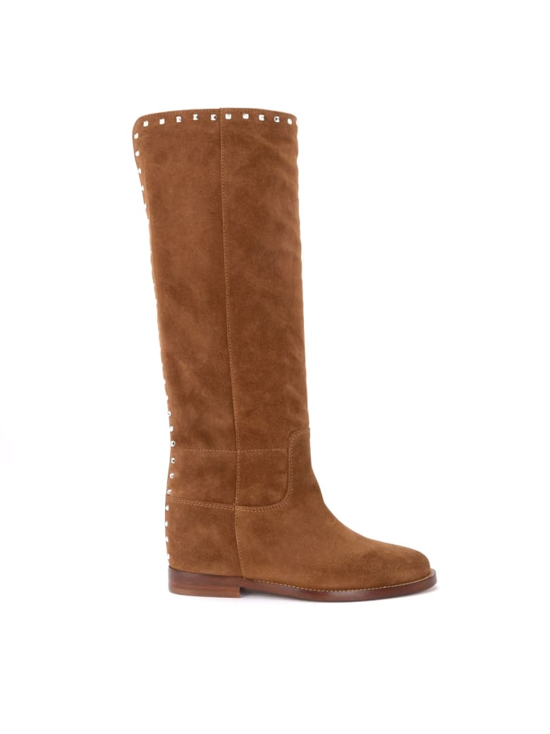 Via Roma 15 Boot In Brown Suede With Rear Studs - BEIGE