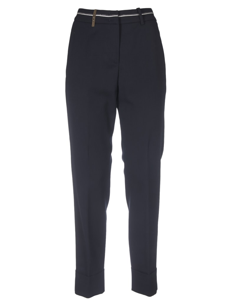 Peserico Dark Blue Trousers With Micro-beads - Blue