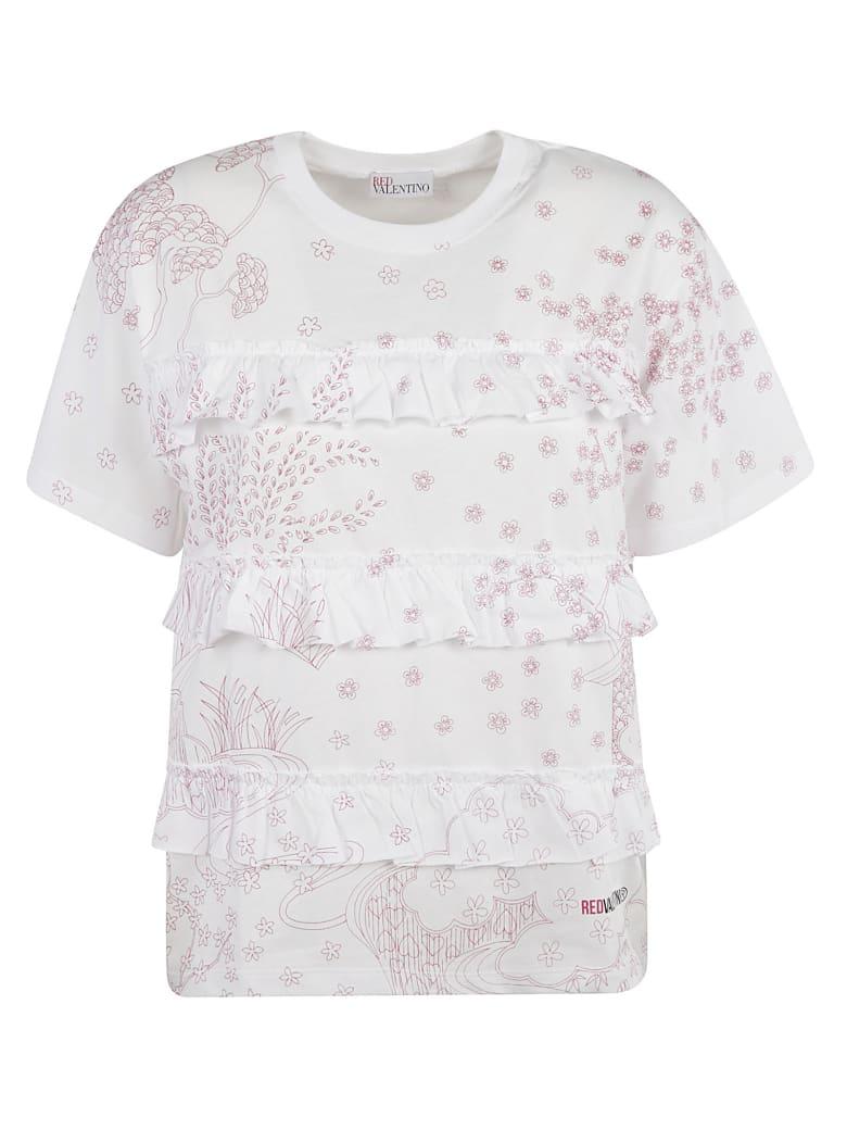 RED Valentino Floral Print Ruffled T-shirt - Optic White