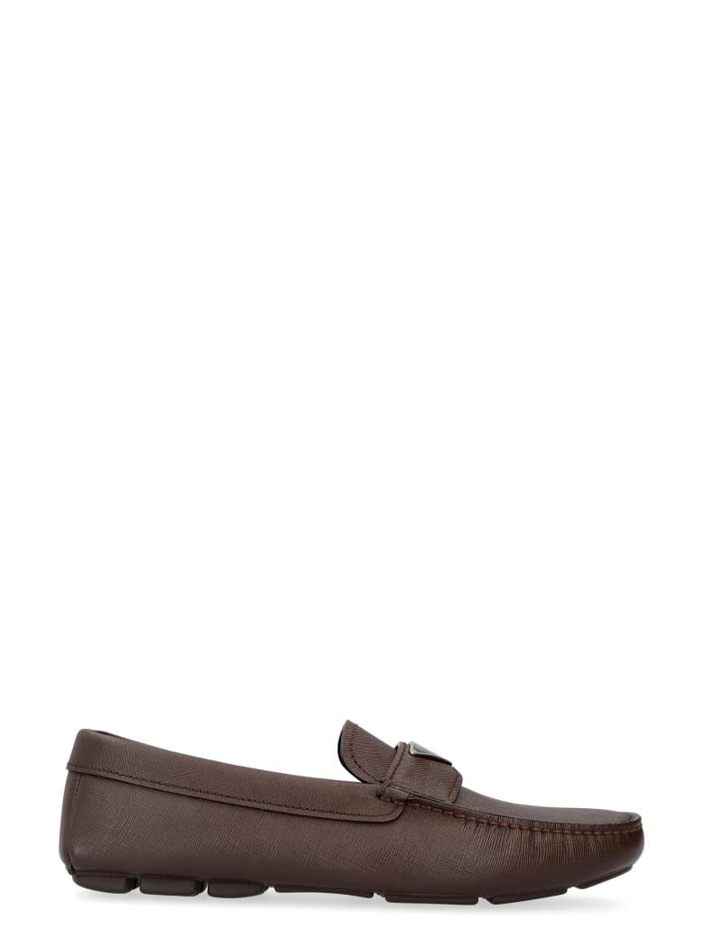 Prada Saffiano Leather Loafers - brown