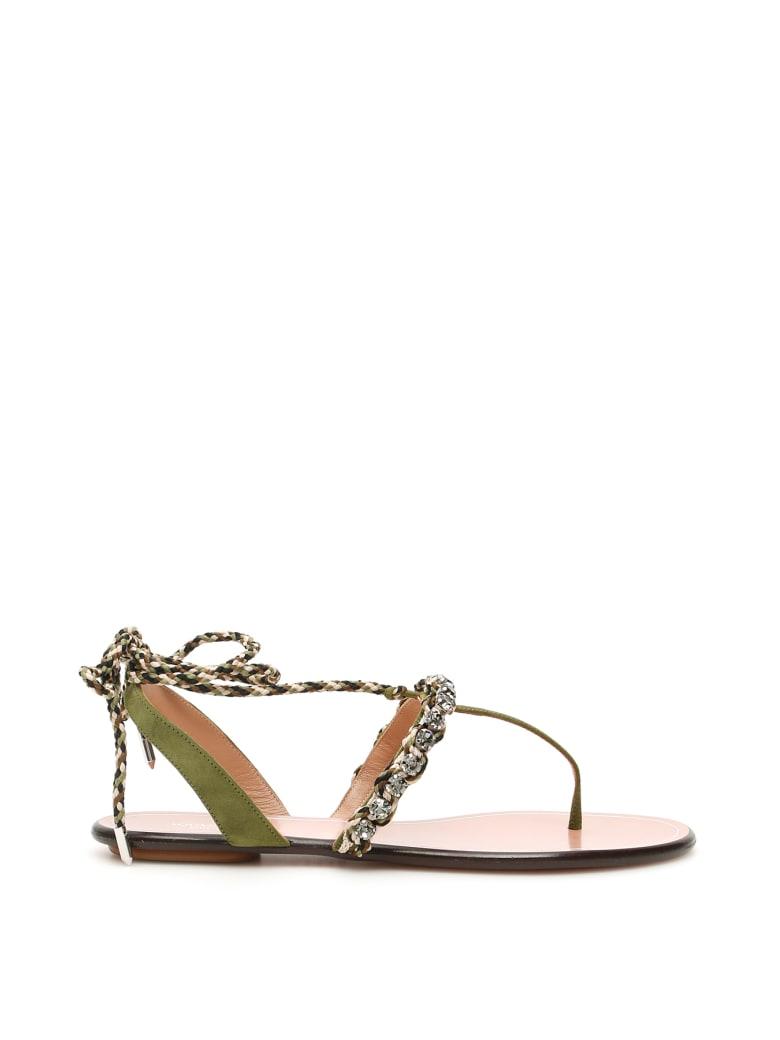Aquazzura Surf Flat Sandals - MULTI MILITARY (Green)