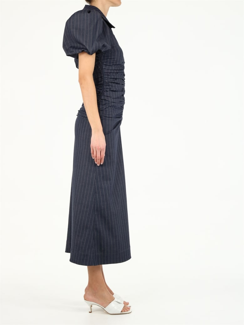 Ganni Stretch Stripe Dress - Blu