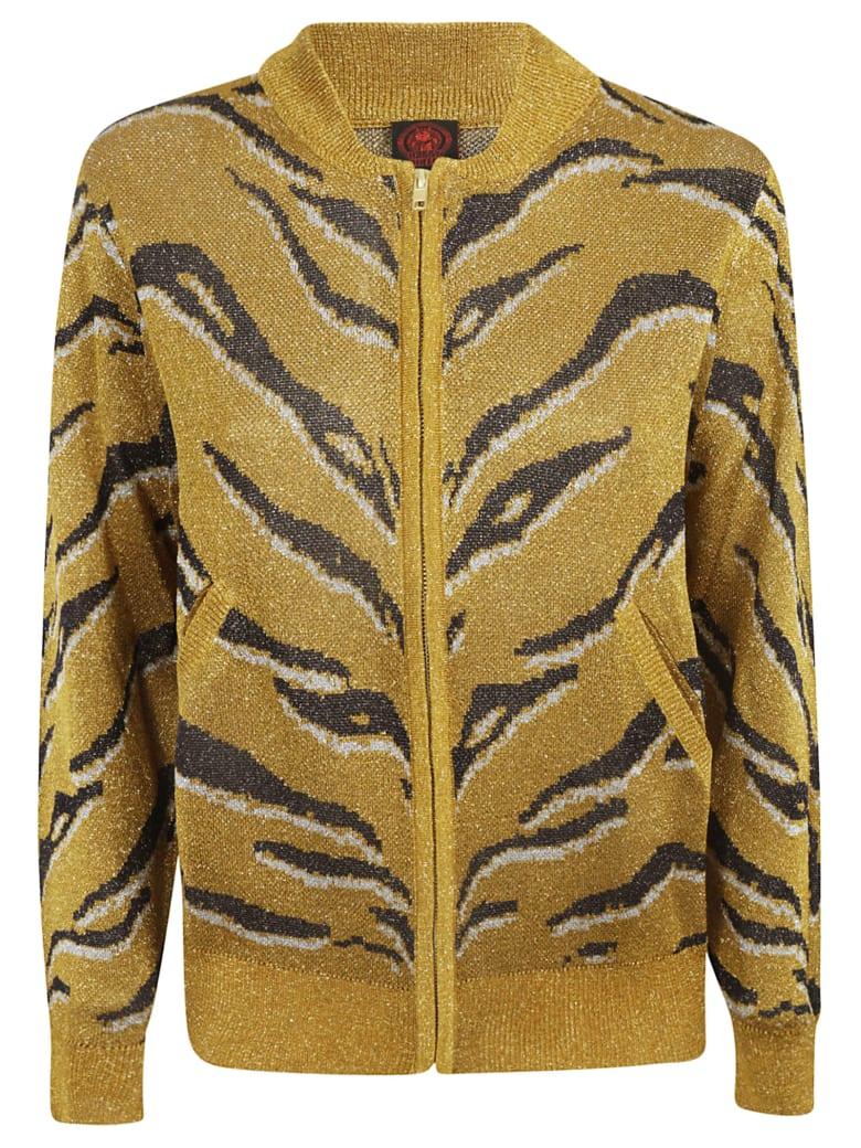 Happy Sheep Animal Skin Print Zipped Cardigan - Gold black