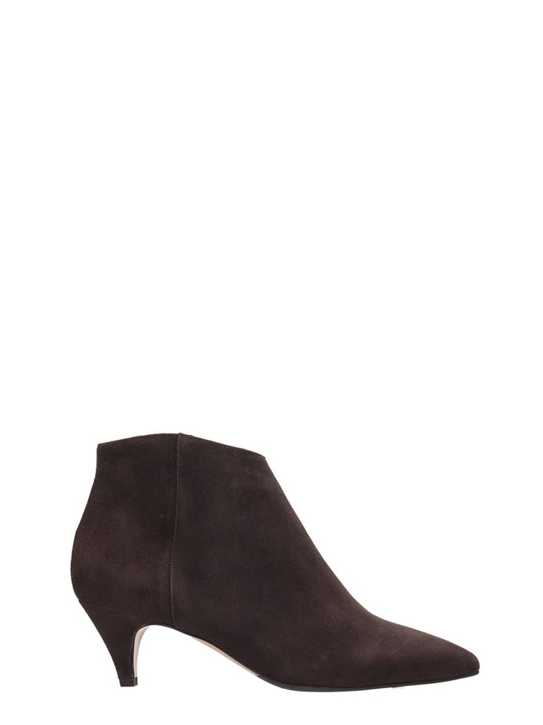 The Seller High Heels Ankle Boots In Brown Suede - brown