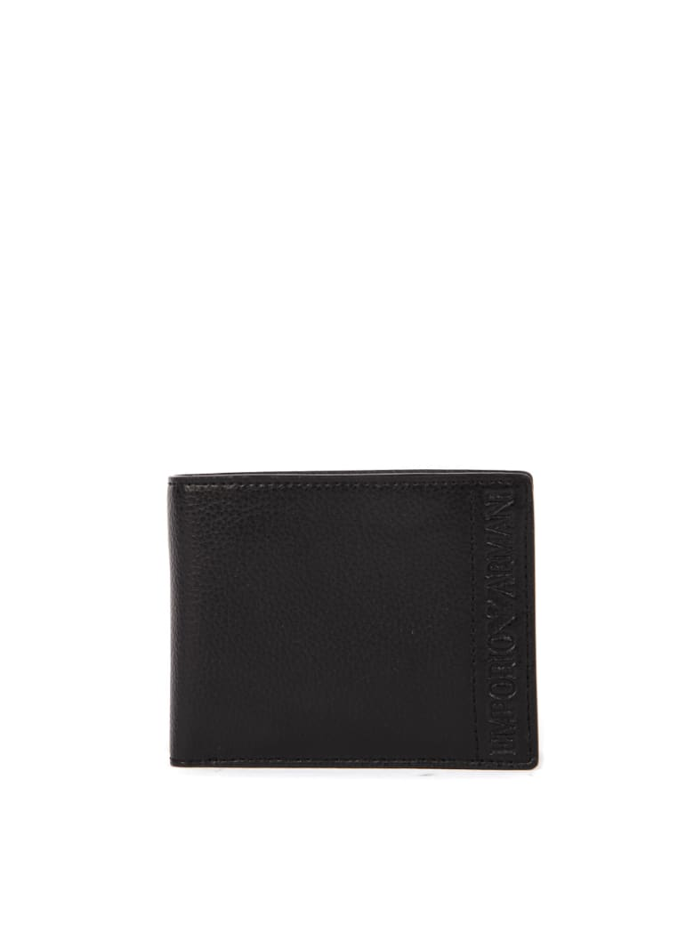 Emporio Armani Black Hammered Faux Leather Wallet - Black