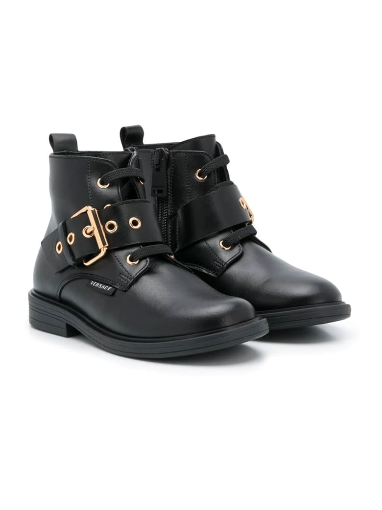 Young Versace Black Boots Kids - Nero/oro