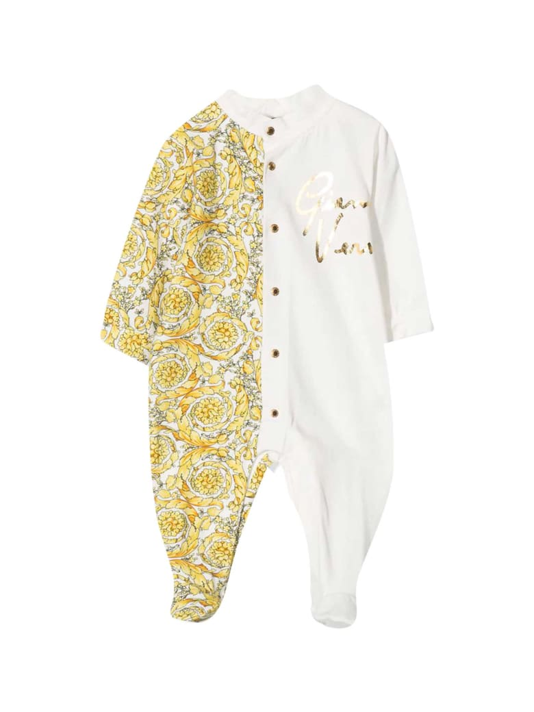 Young Versace White And Gold Romper With Baroque Print - Bianco/oro