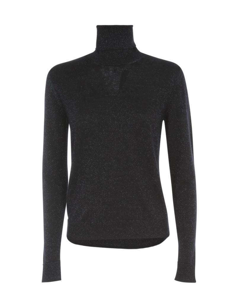 Nuur Vanise` Lurex High Neck Wool Sweater - Navy