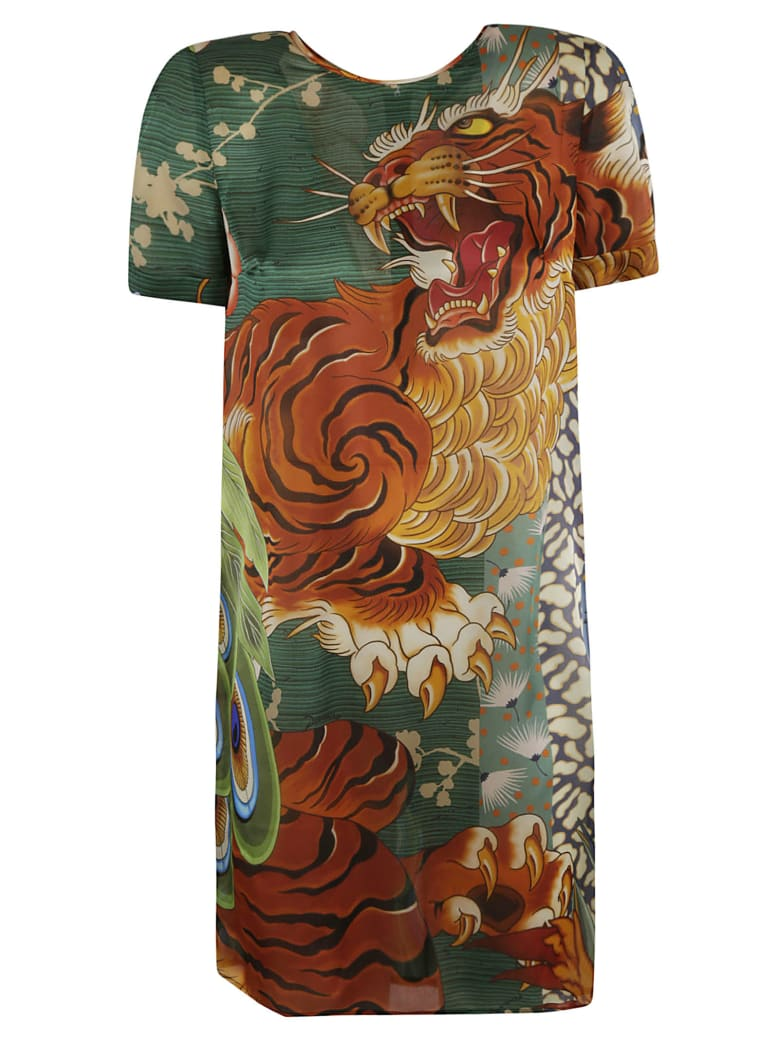 Dsquared2 Tiger Front Print Mid-length Dress - Multicolor