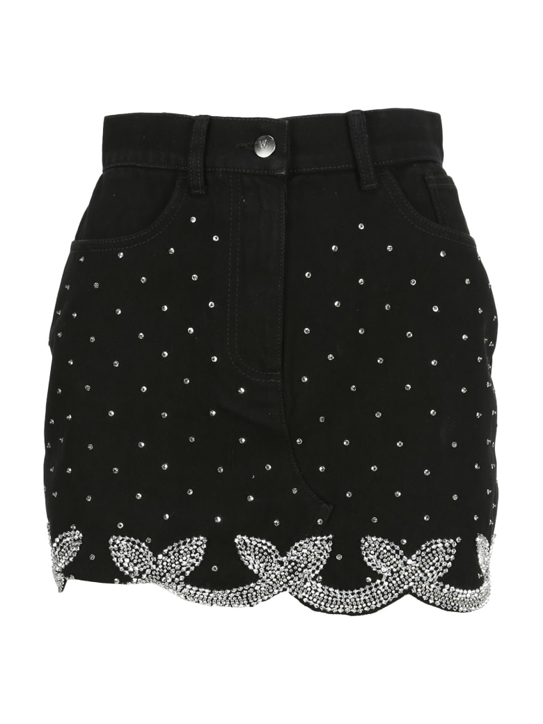 WANDERING Embroidered Skirt - BLACK