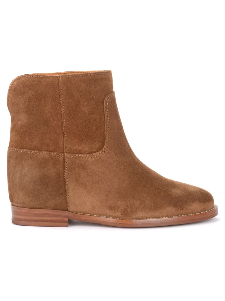Via Roma 15 Ankle Boot In Leather-colored Suede With Slit - MARRONE