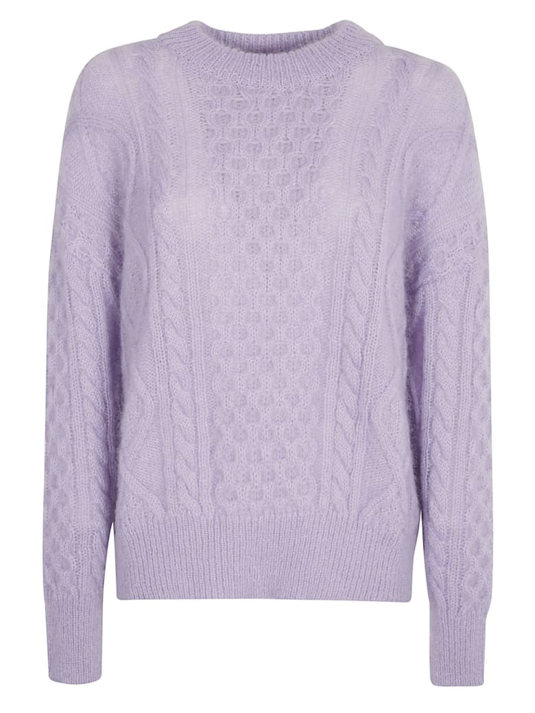 Laneus Round Neck Knitted Jumper - Lilac