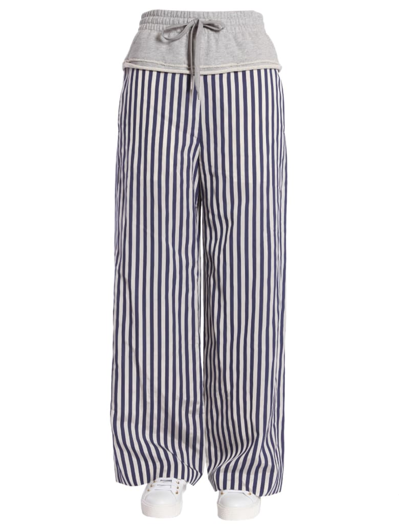 T by Alexander Wang Striped Wide Leg Trousers - GRIGIO