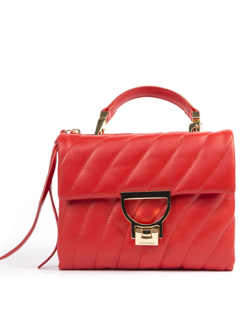 Coccinelle Arlettis Quilted Red Leather Handbag - Polish red