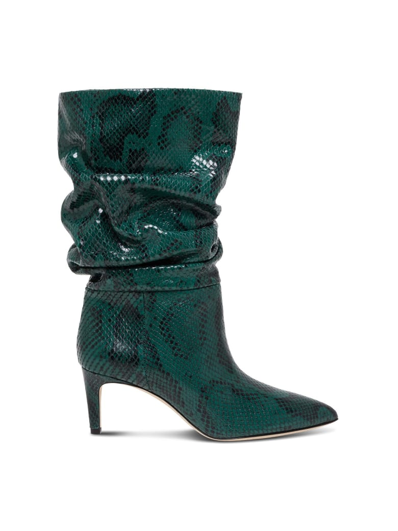 Paris Texas Python Print Leather Ankle Boots - Green