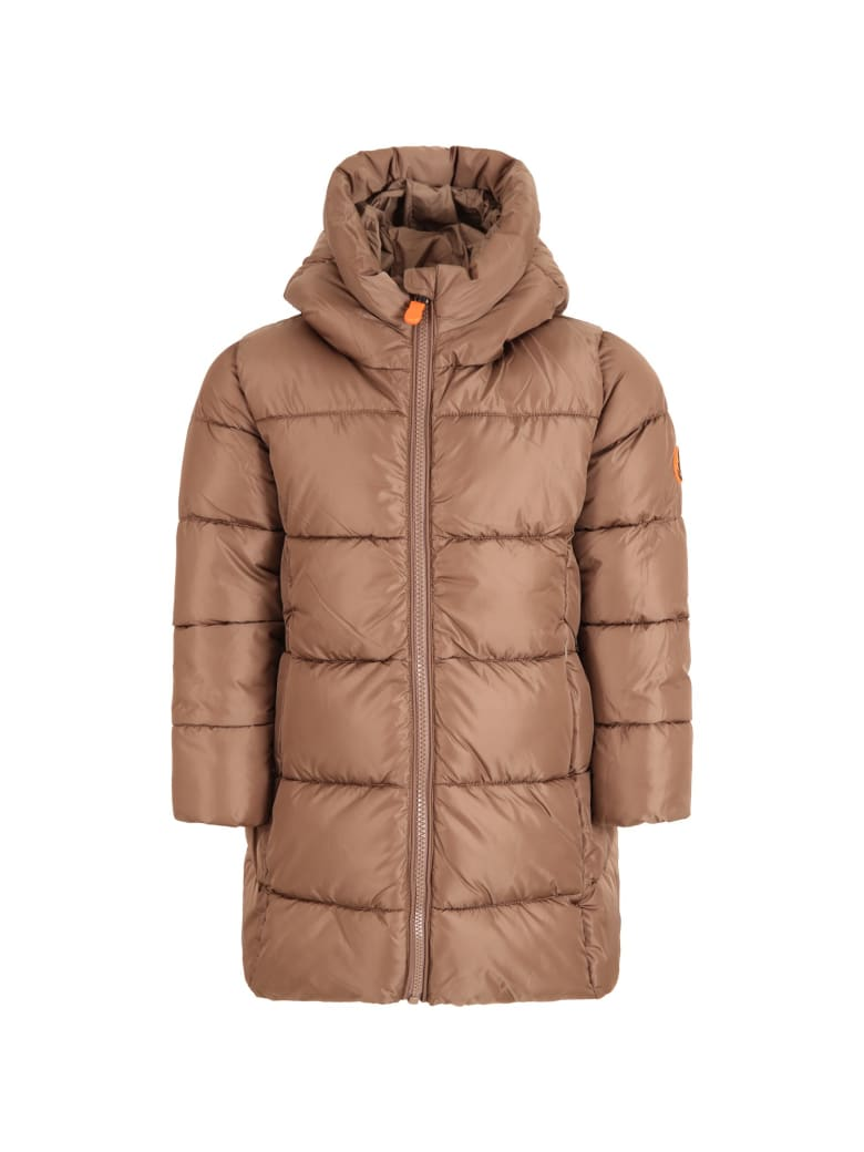 Save the Duck Brown Jacket For Girl With Iconic Patch - Brown