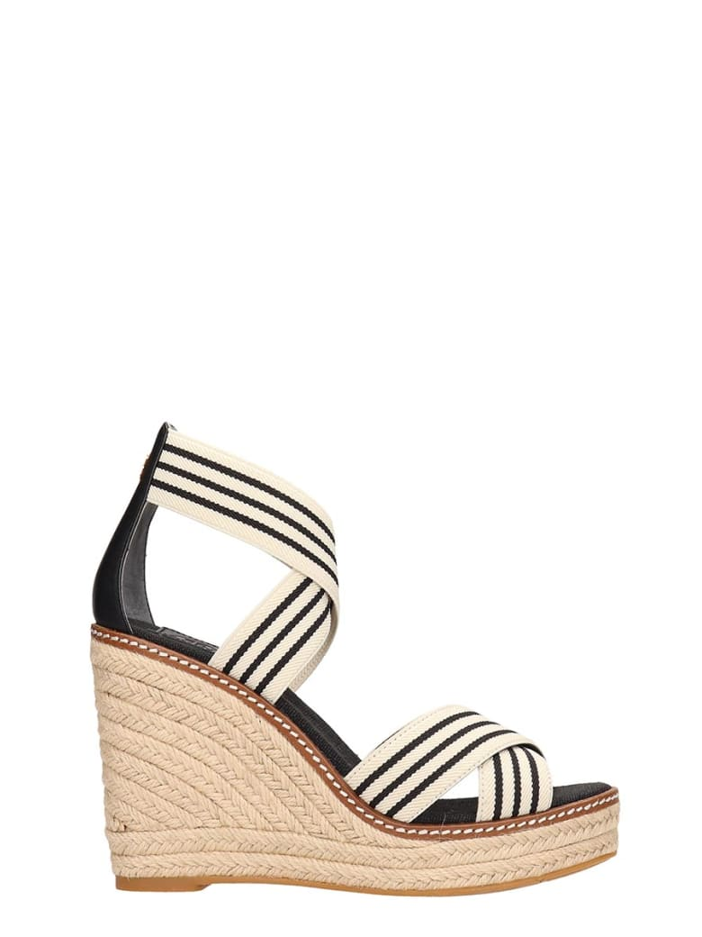 Tory Burch Black And White Canvas Frieda Sandals - black