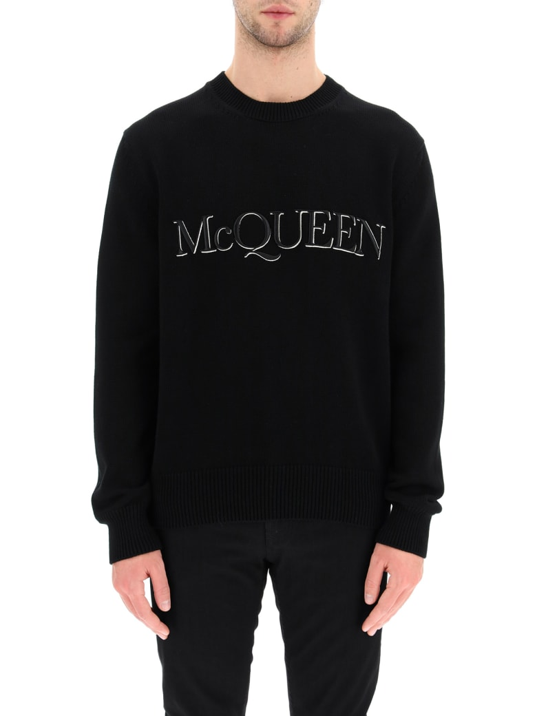 Alexander McQueen Cotton Sweater With Logo Embroidery - Nero