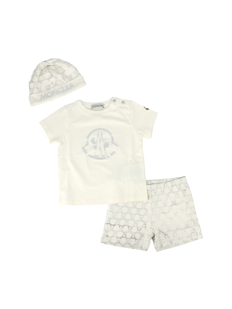 Moncler Cotton T-shirt, Shorts And Hat Suit - Bianco
