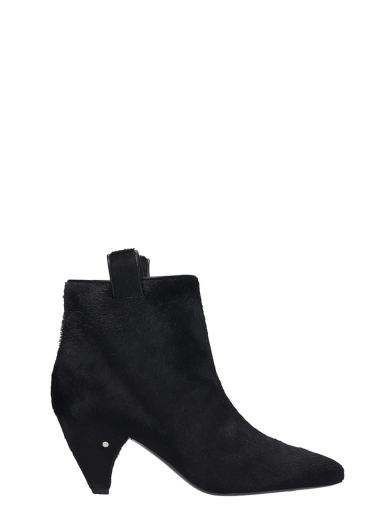 Laurence Dacade Terence High Heels Ankle Boots In Black Pony Skin - black
