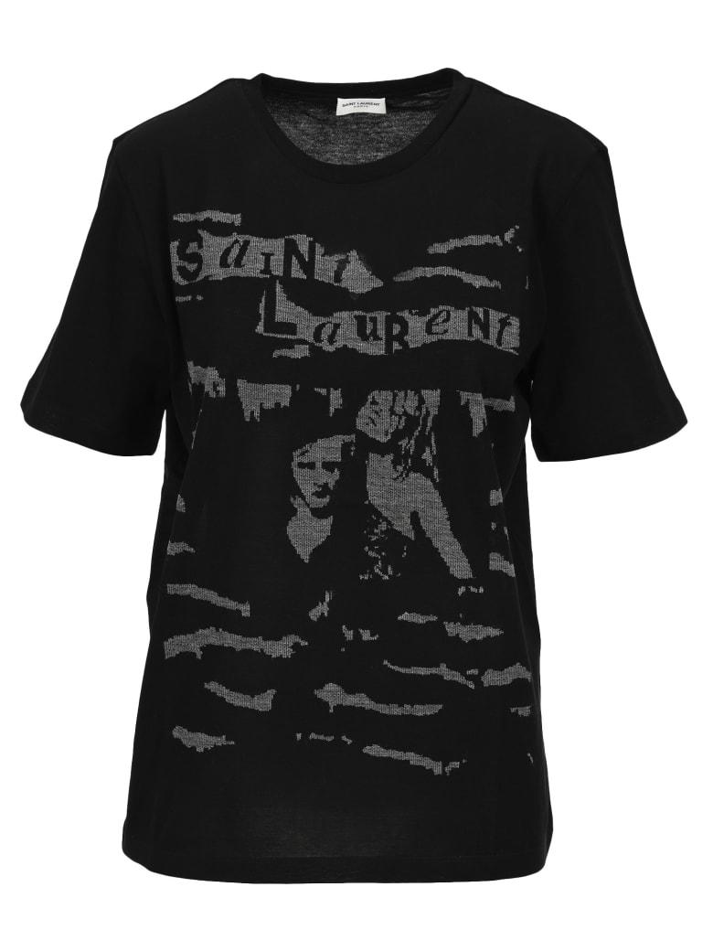 Saint Laurent Jacquard T-shirt - BLACK