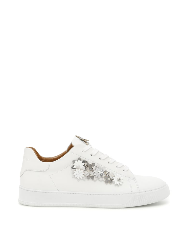 Black Dioniso Flower Sneakers - WHITE (White)