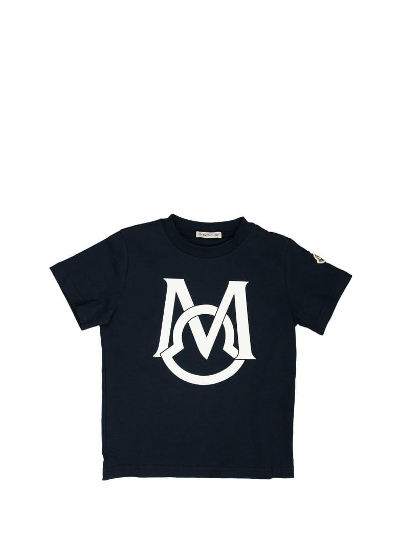 Moncler Cotton T-shirt With Logo Blue - Blue