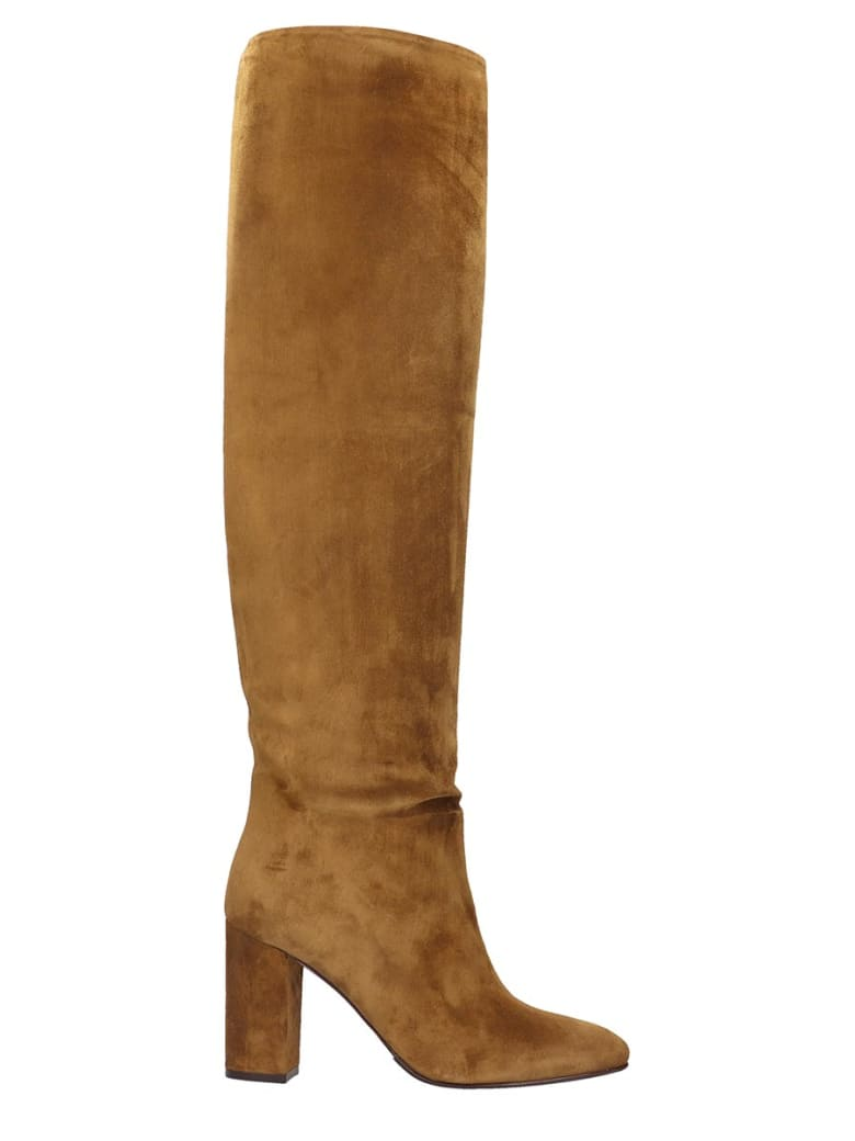 Le Silla High Heels Boots In Leather Color Suede - leather color