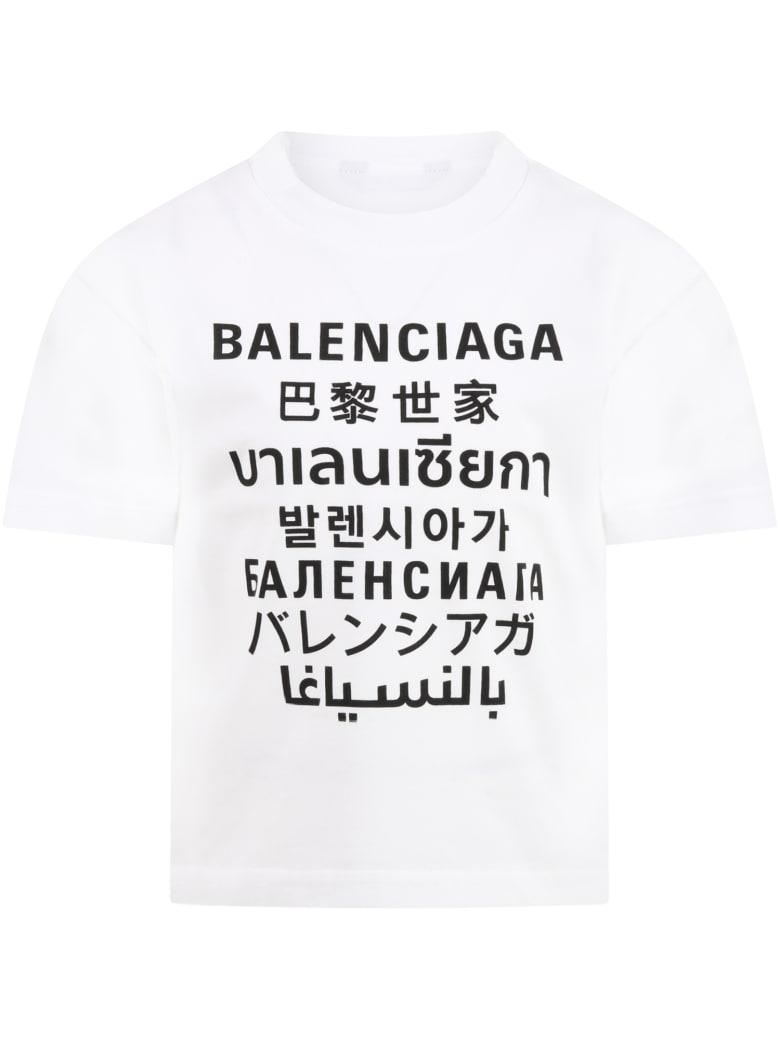 Balenciaga White T-shirt For Kids With Logos - White