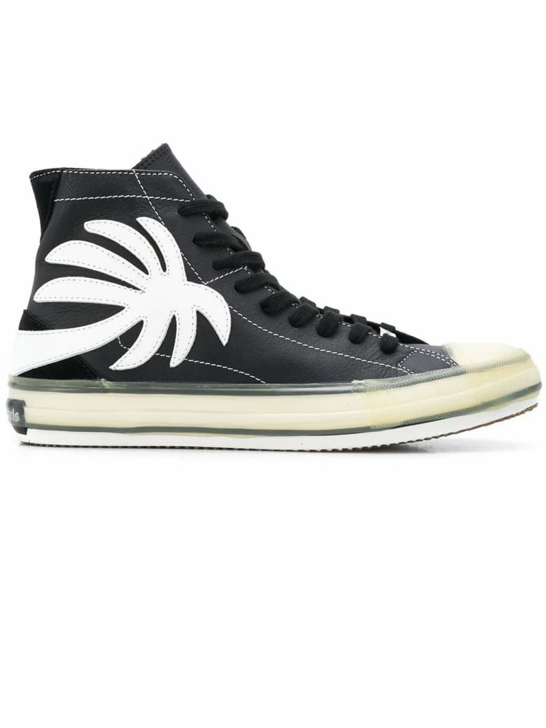 Palm Angels Black Leather High Top Sneakers - Nero