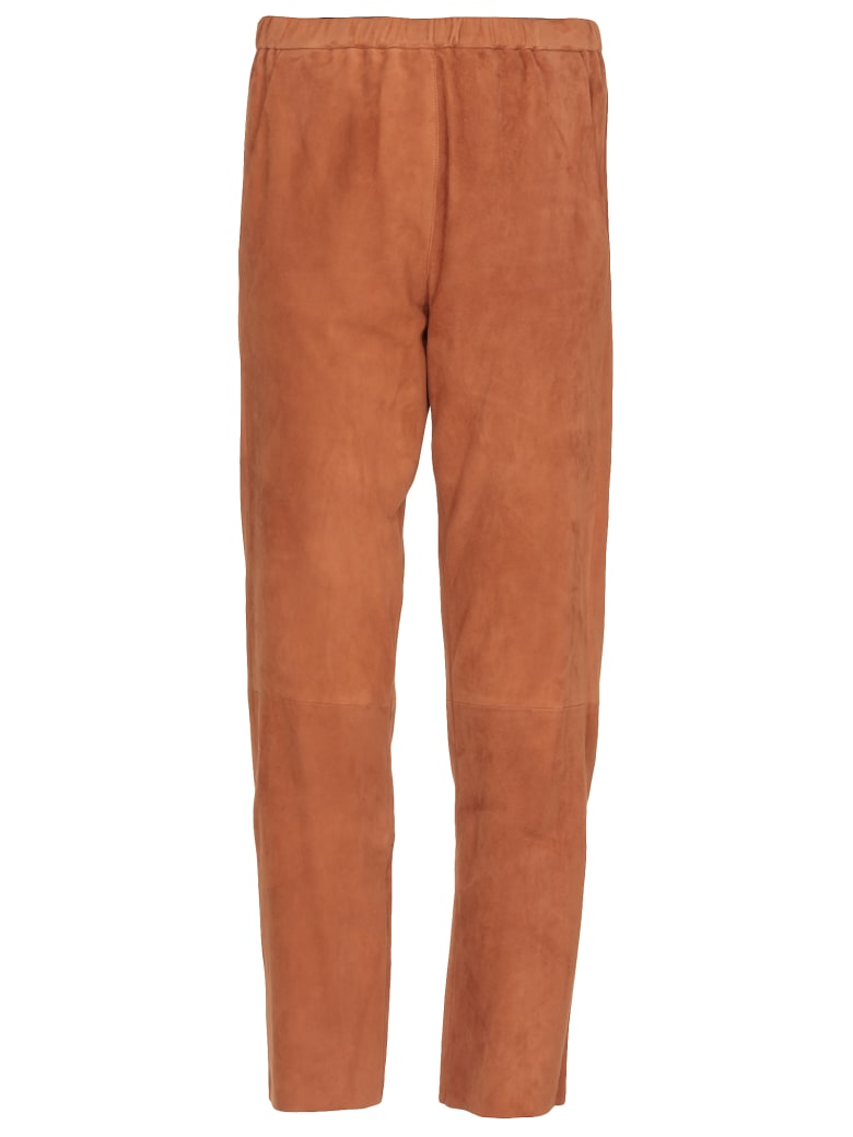 DROMe Suede Leather Trousers - RUST