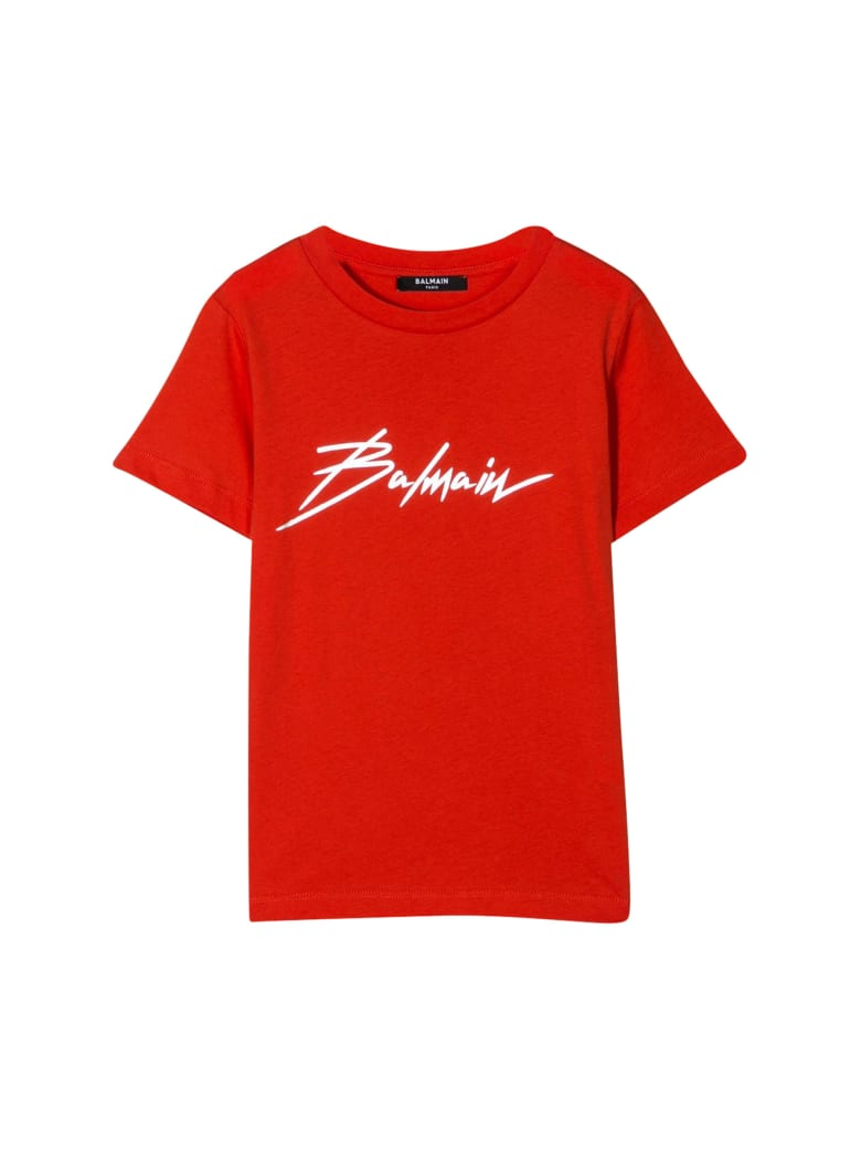 Balmain Kids Round-neck Printed T-shirt - Arancio