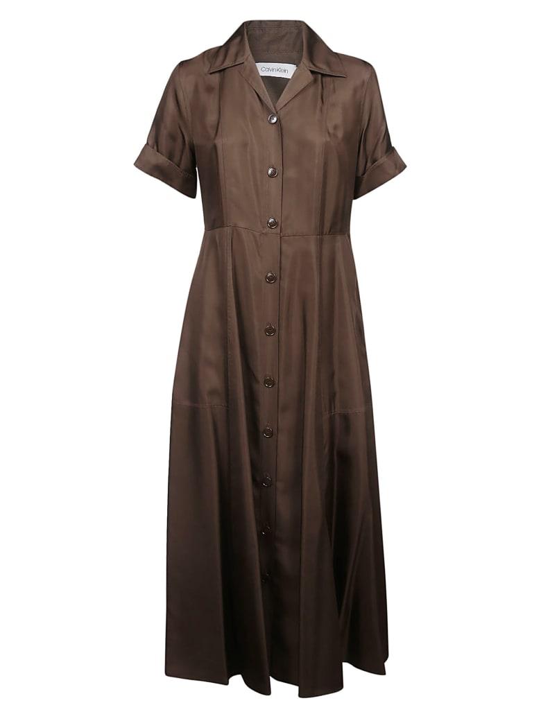 Calvin Klein Long Shirt Dress - Chocolate