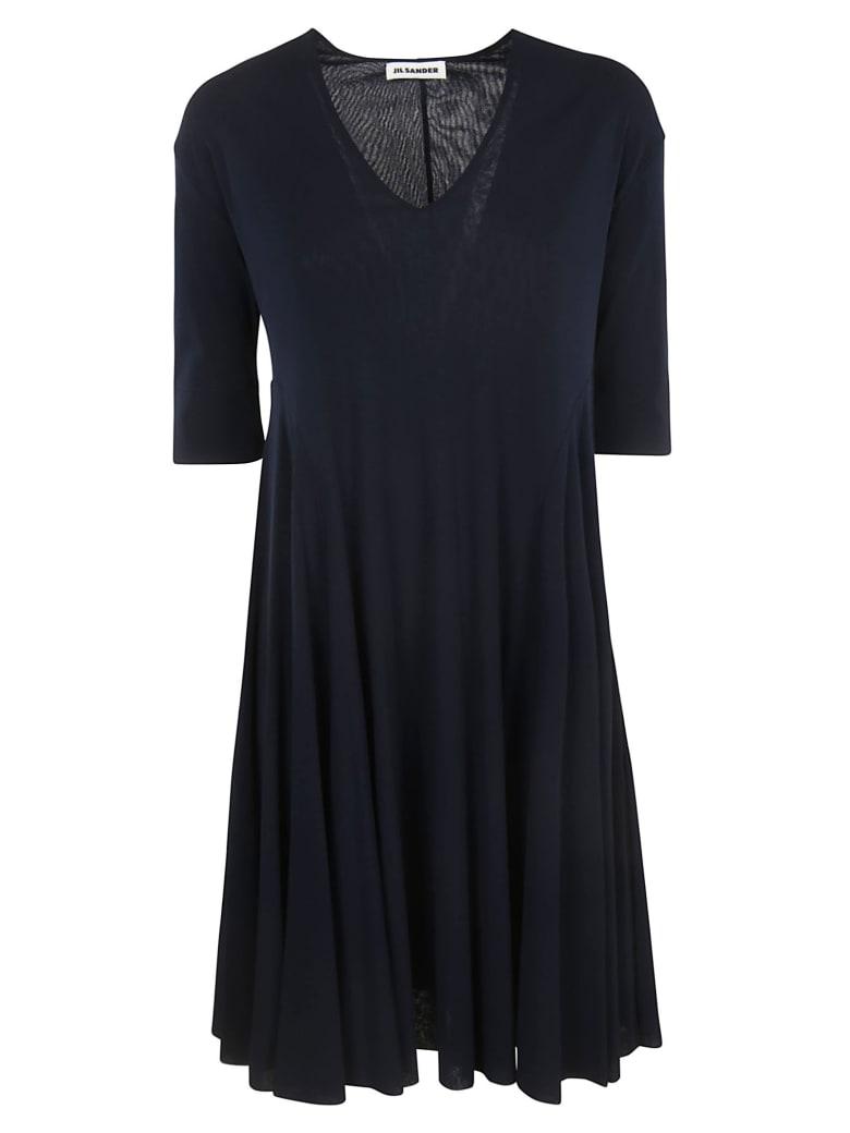 Jil Sander V-neck 3 Quarter Length Sleeve Dress - Dark Blue