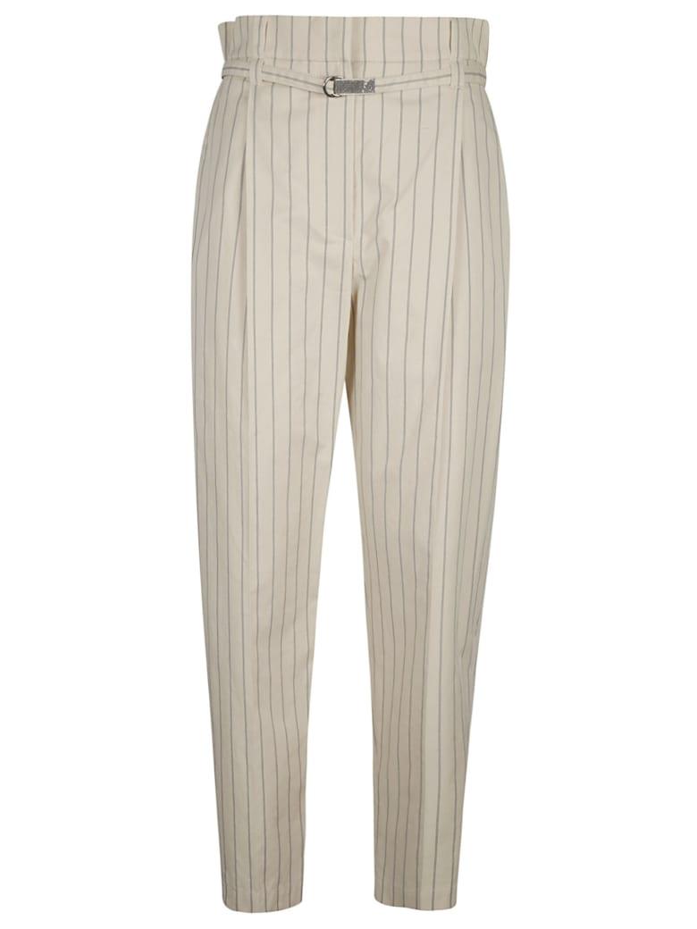 Brunello Cucinelli High Rise Stripe Trousers - Bianco
