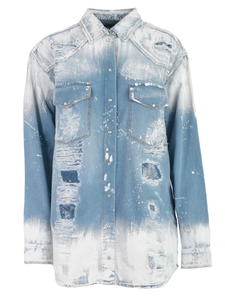 Faith Connexion Slash Paint Print Jacket - Indigo