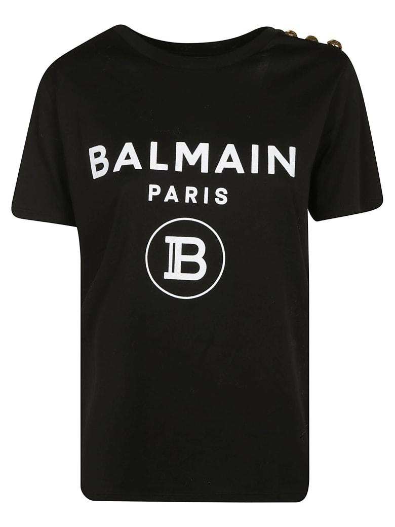 Balmain Embellished Logo T-shirt - White/Black