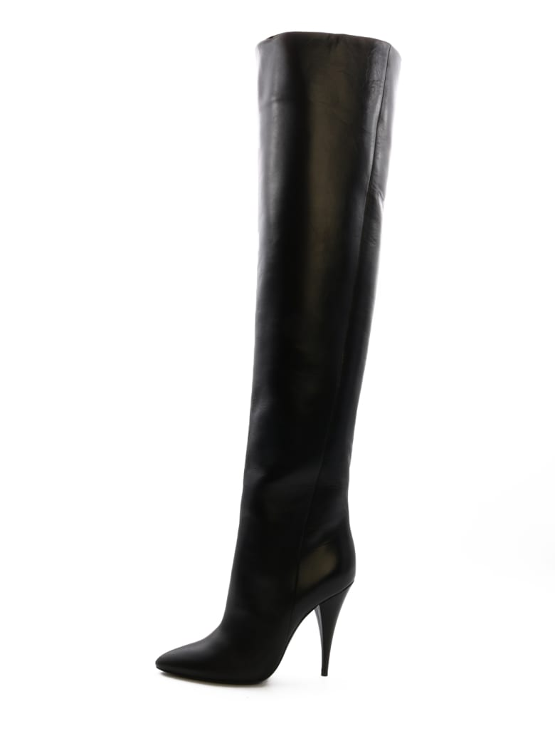 Saint Laurent Kiki Boot In Smooth Leather - Black