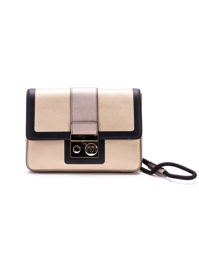 Trussardi With Love Faux Leather Clutch - GOLD