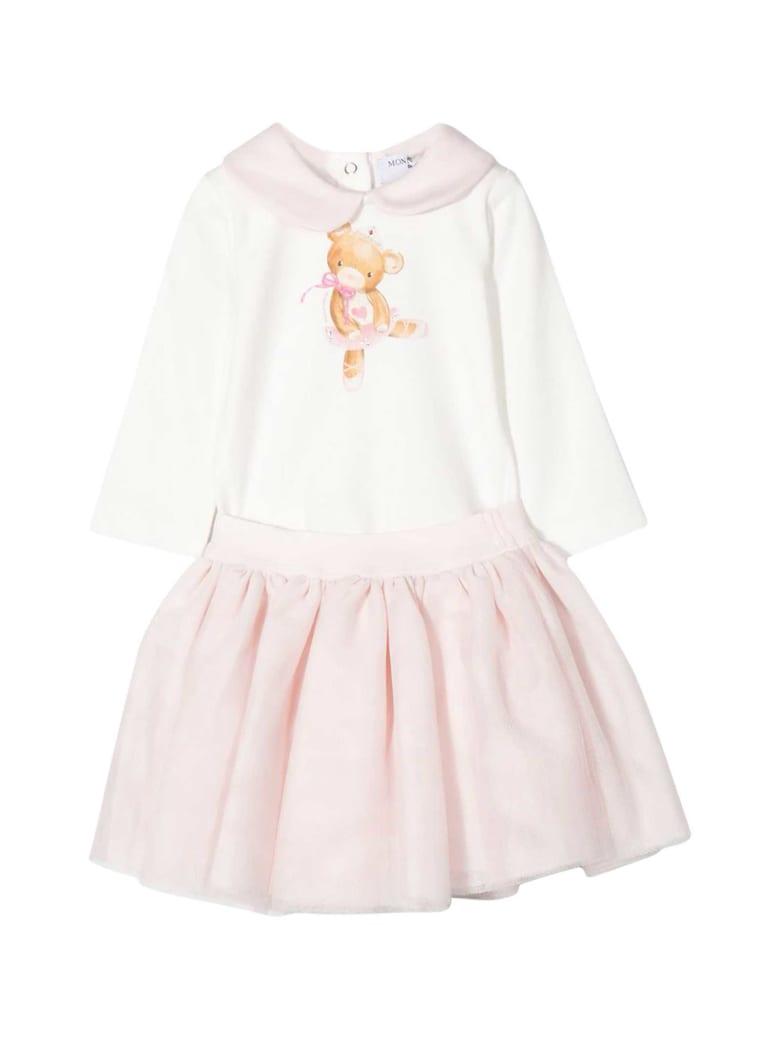 Monnalisa White And Pink Dress With Press - Rosa