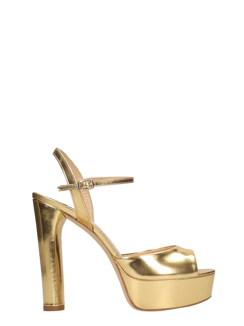 The Seller Gold Laminated Leather Sandals - gold